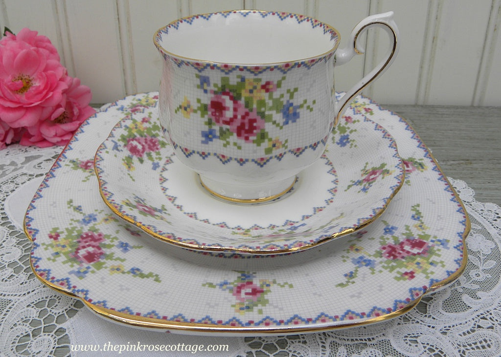 Vintage Royal Albert Petit Point China Pink Roses Teacup Saucer and Luncheon Plate