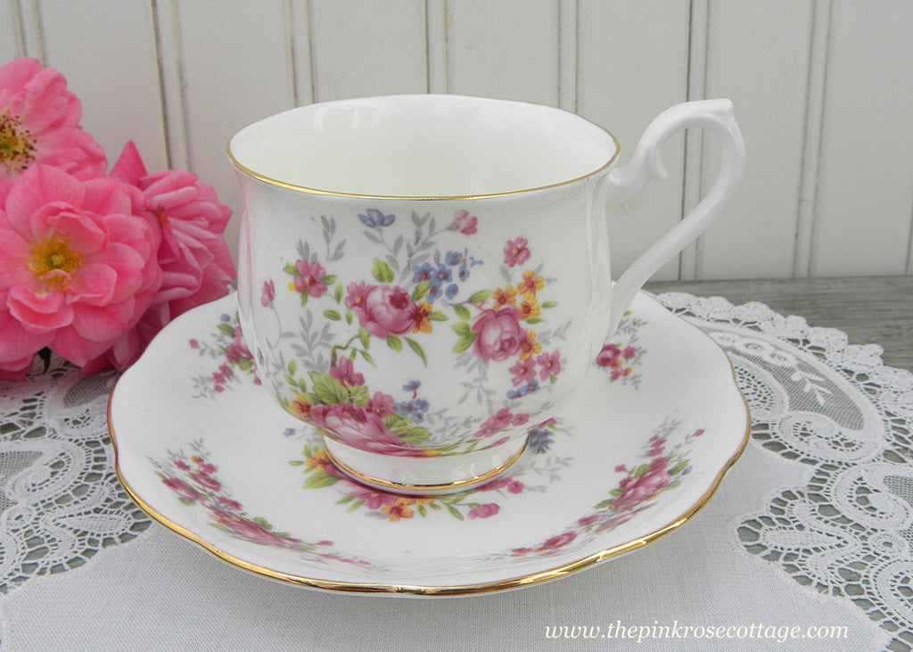 Vintage Royal Albert Petite Pink Roses and Forget Me Nots Teacup and Saucer