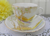 Vintage Melba Bone China Teacup and Saucer with Trees and Hills