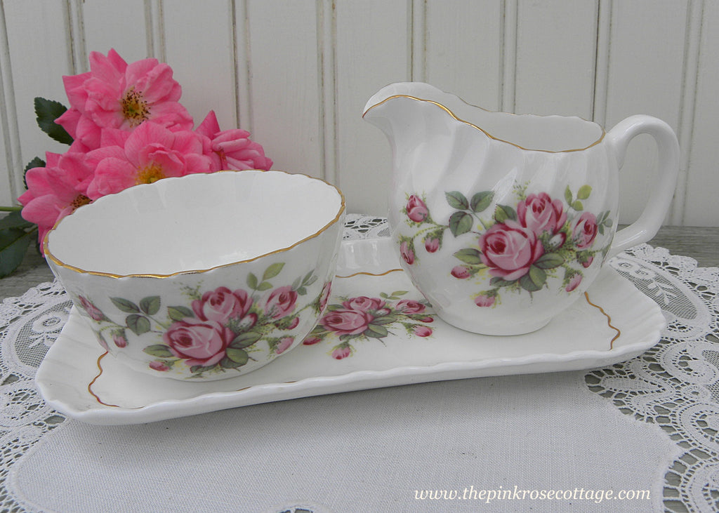 Vintage Adderley Pink Rose Open Sugar Creamer and Tray