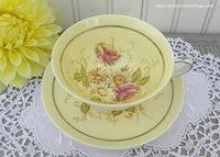 Vintage Paragon Yellow Teacup and Saucer with Pink Roses and Daisies