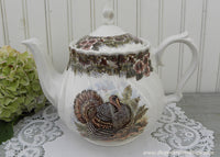 Vintage Queen's Myott Thanksgiving Turkey Teapot