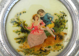 Large Vintage Cody Aluminum Music Powder Box with Young Couple in Garden