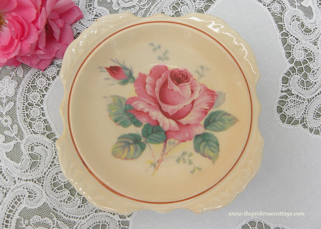 Vintage Paragon Pink Rose on Pink Teabag Holder Tidbit Dish