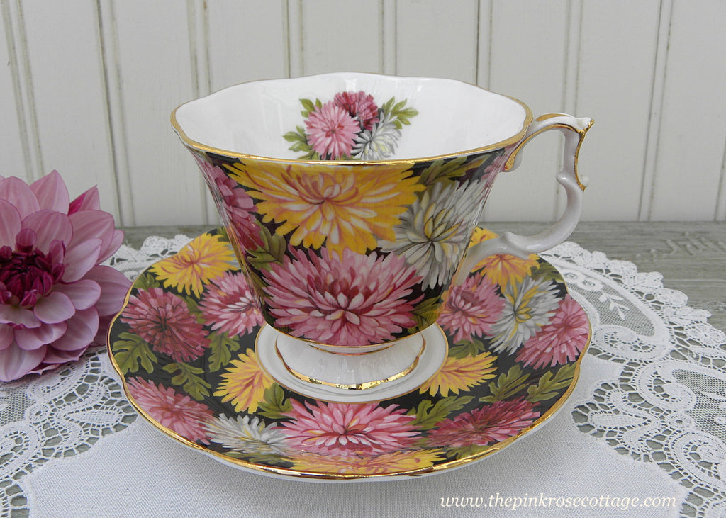 Vintage Royal Albert Black Chintz Chrysanthemums Christine Teacup and Saucer