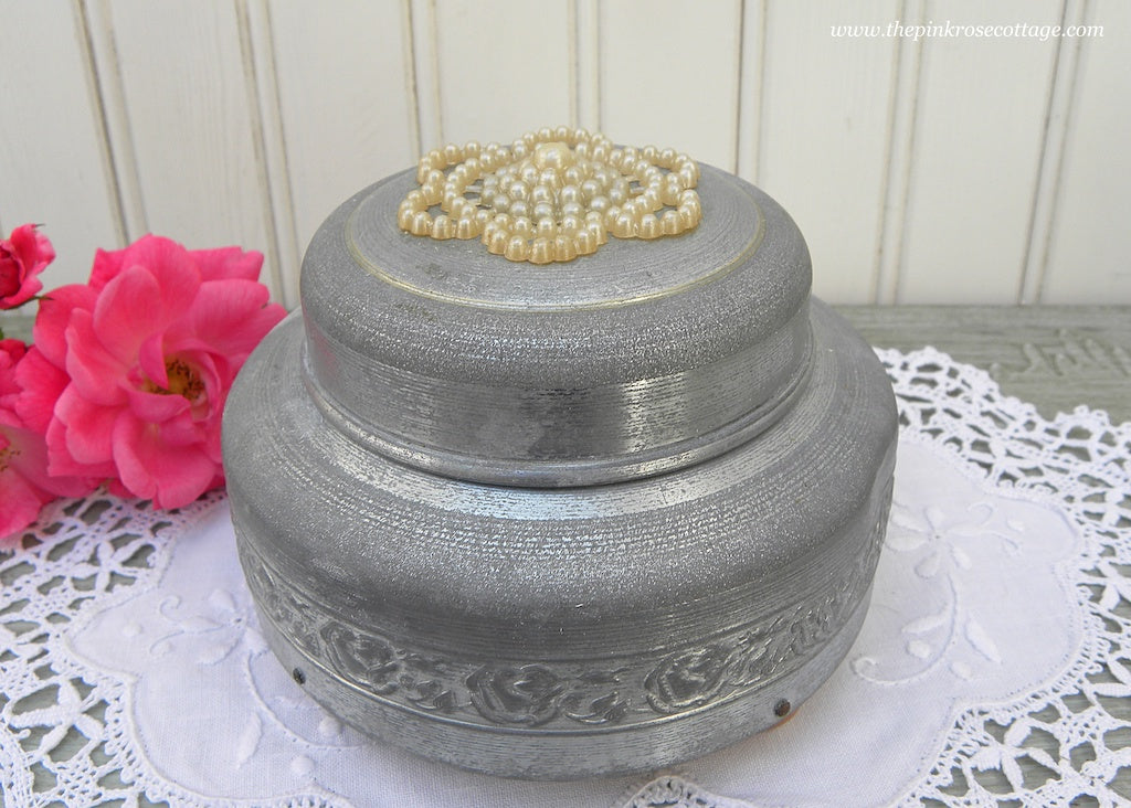 Vintage Aluminum Music Powder Box with Pearls and Etched Rose Garland