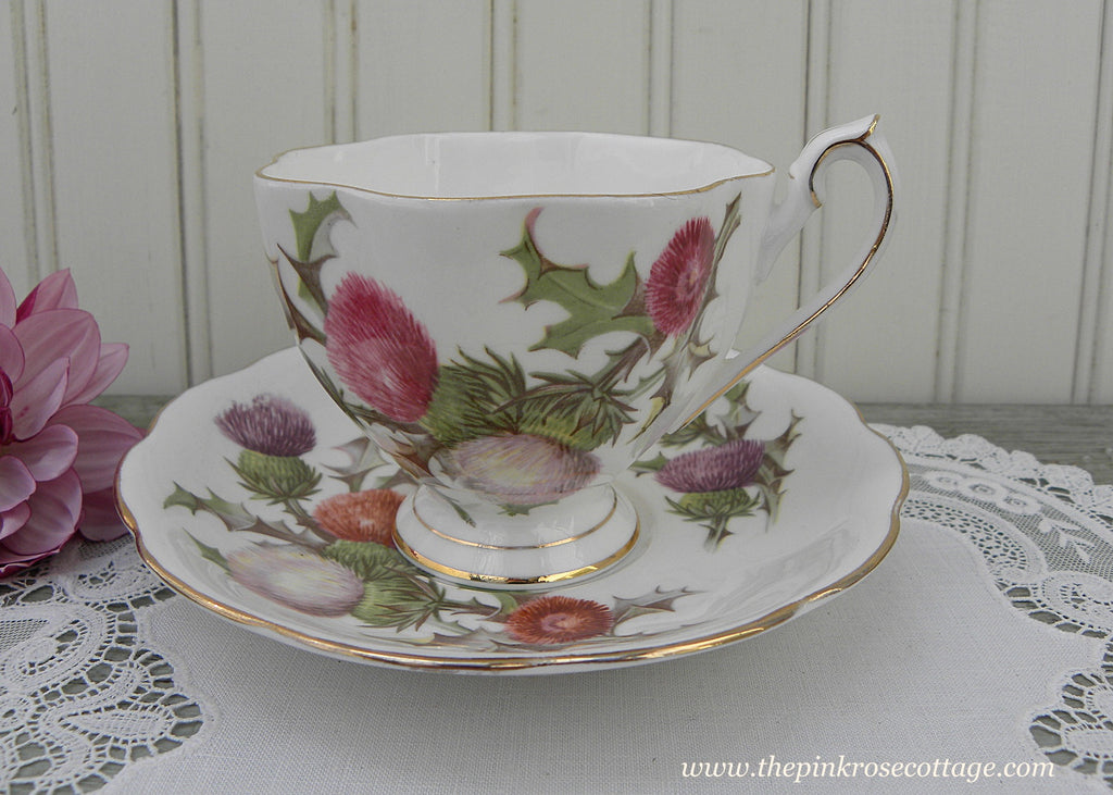Vintage Queen Anne Dundee Thistle Teacup and Saucer