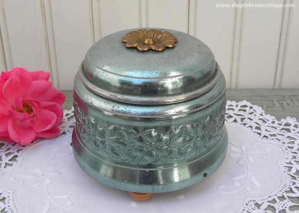 Vintage Blue Aluminum Music Powder Box with a Garland of Flowers