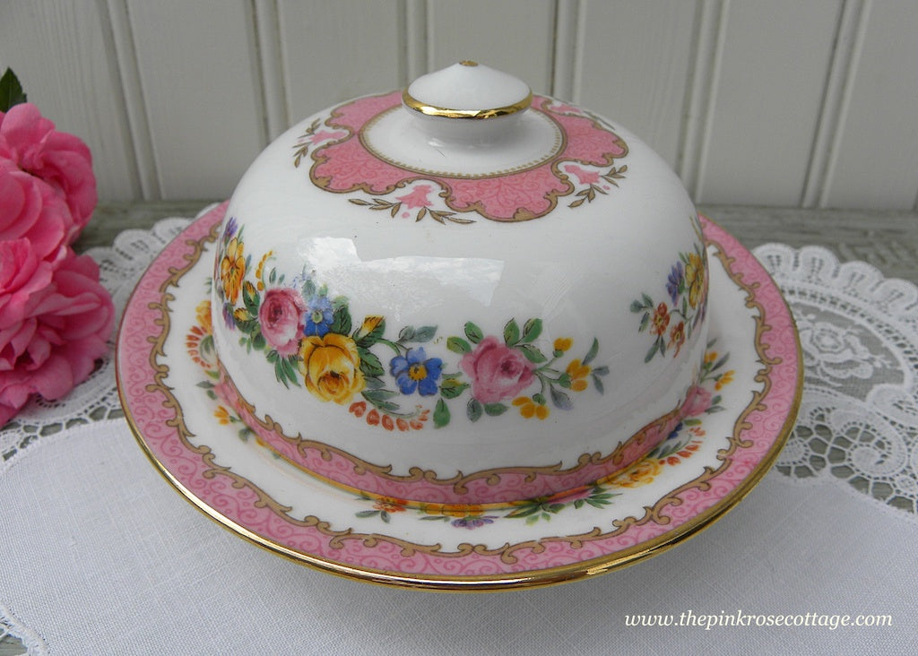 Vintage Royal Staffordshire Pink Lyric Tunis Small Covered Butter Dish