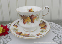 Vintage Queen's Anne Maple Leaf Autumn Fall Teacup and Saucer