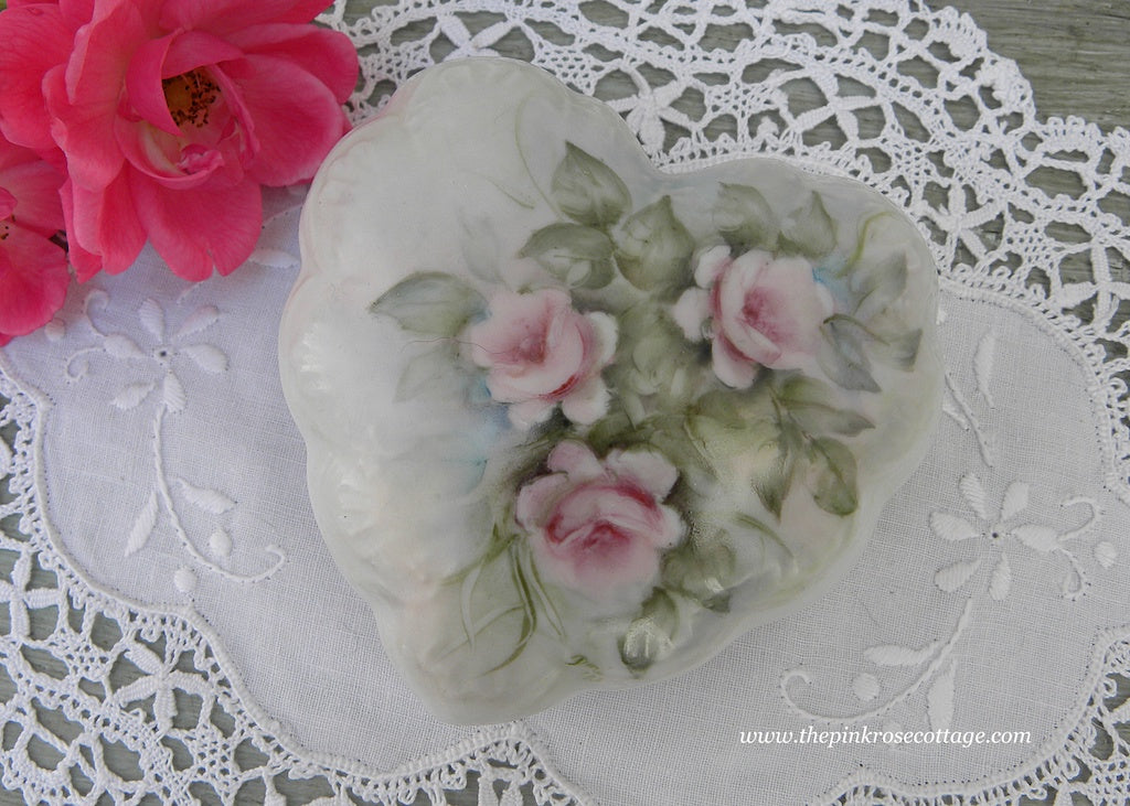 Vintage Heart Shaped Hand Painted Pink Rose Trinket Ring Box