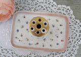 Vintage Limoges France Hatpin Trinket Tray with Petite Flower Buds