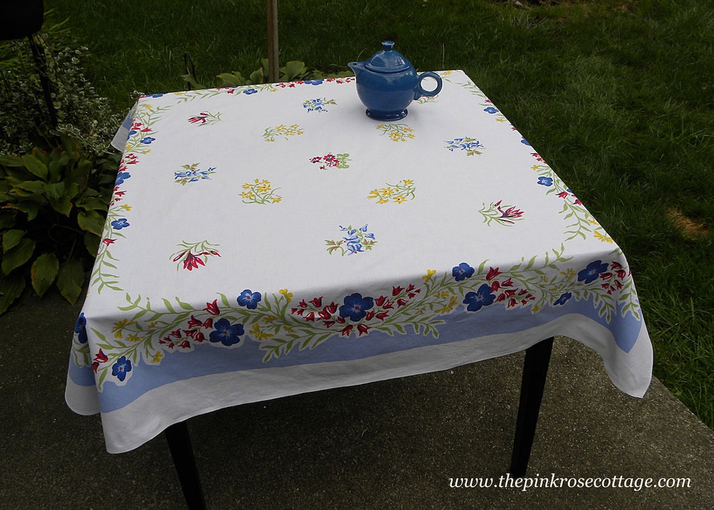 Vintage Simtex Floral Tablecloth Bleeding Hearts Buttercups and More