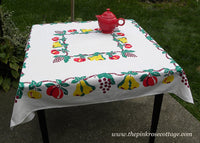 Vintage Fruits Grapes Apples Pears and More Tablecloth