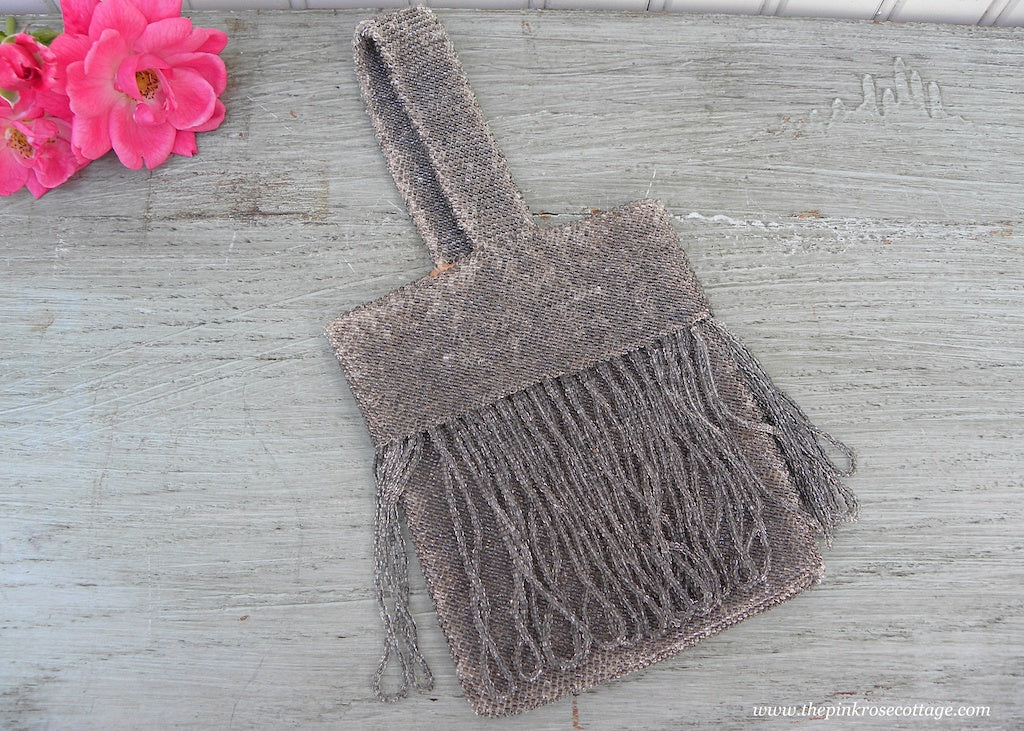 Antique Gray Glass Beaded and Fringe Flapper Purse Evening Bag