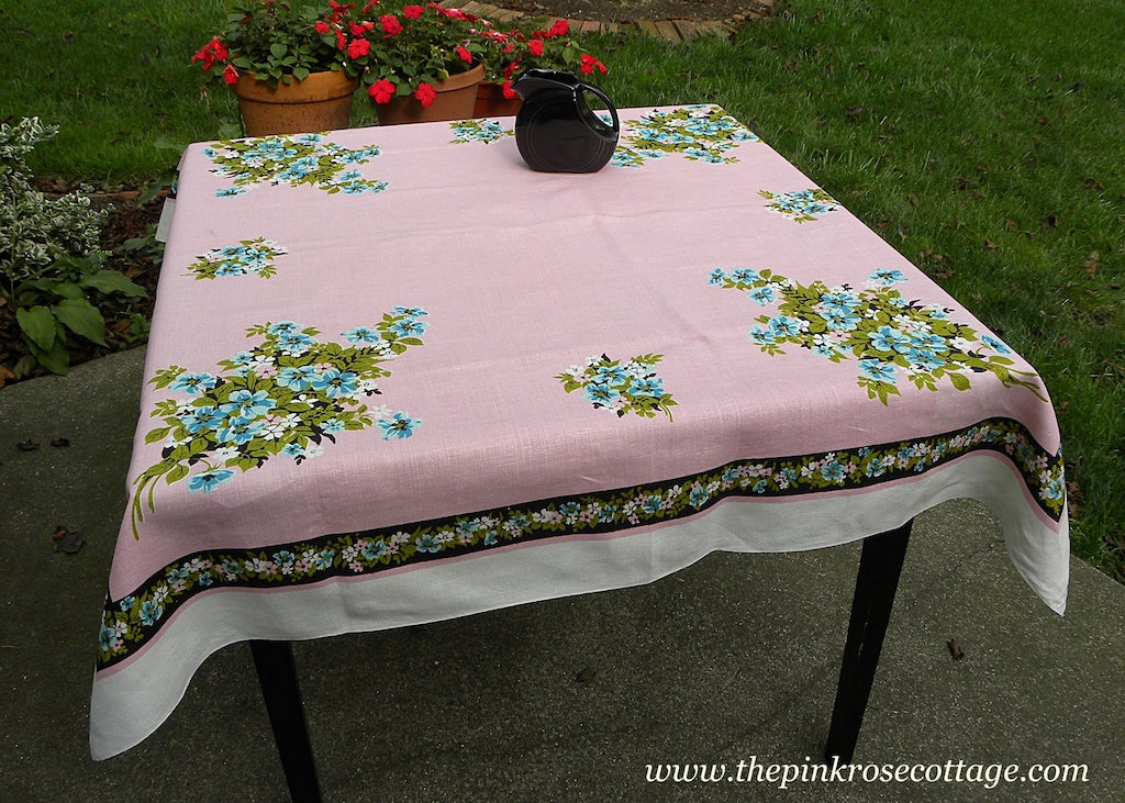 Vintage Pink and Black Tablecloth with Blue and White Flowers