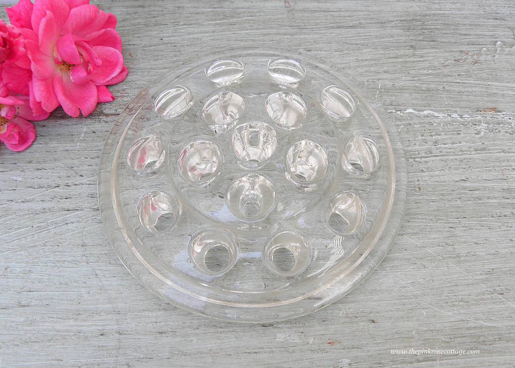 Vintage Clear Glass Round Flower Frog