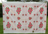 MWT Vintage Broderie Tablecloth with Pink Roses and Scrolls