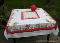 Vintage Southwestern Mexican Tablecloth Donkey Cactus Sombreros