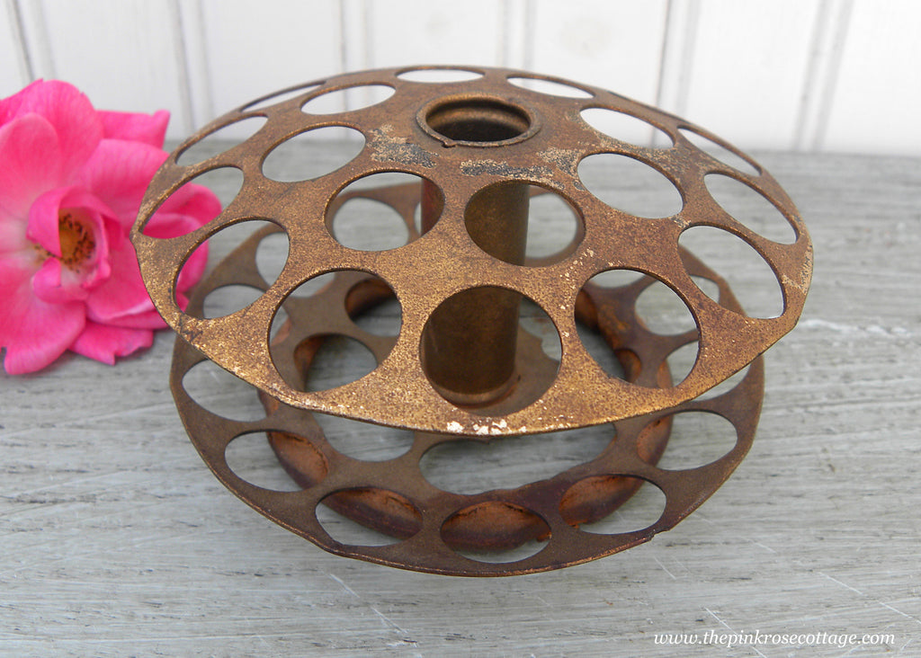 Vintage Metal 2 Tiered Round Flower Frog