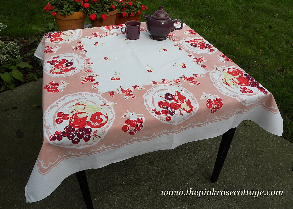 Vintage Pink Plate of Fruit Apples Cherries Berries and More Tablecloth