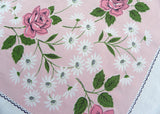 Vintage Tablecloth with Pink Roses and Daisies Petite Polka Dot Border