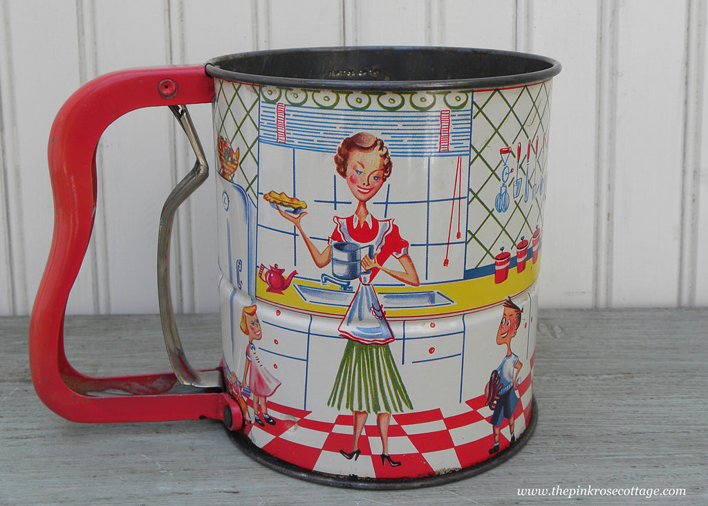 Vintage Androck Hand-I-Sift Flour Sifter Mother and Children Red and White Kitchen