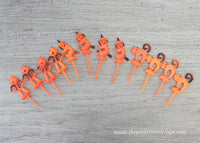 Vintage Halloween Witch Cat Pumpkin Scarecrow Cupcake Picks Toppers