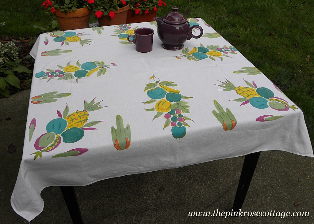 Vintage Tropical Fruits Pineapples Bananas and Cactus Tablecloth