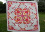 Vintage Pink and Yellow Lilies and Hibiscus Floral Tablecloth