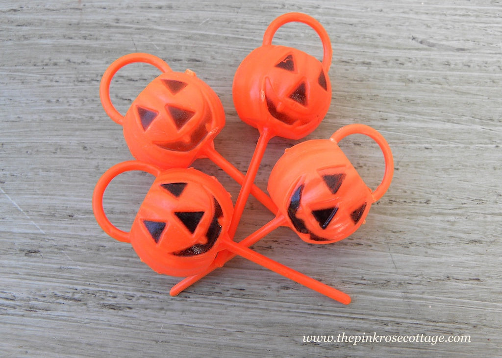 Vintage Halloween Pumpkin Trick or Treat Bucket Cupcake Picks Toppers