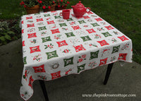 Vintage Christmas Tablecloth with Santa Claus Snowman Candy Canes Ornaments and More