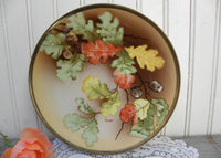Vintage Hand Painted Autumn Oak Leaves and Acorns Plate
