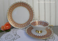 Vintage Alka Kunst Alboth Kaiser Rust and Gold Teacup and Luncheon Plate