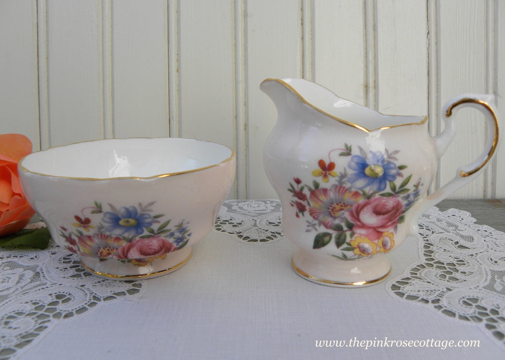 Vintage Paragon Pink Sugar and Creamer with Roses