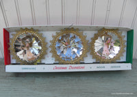 Vintage Jewelbrite Christmas Reflective Ornaments By Decor Set of 3 Angels