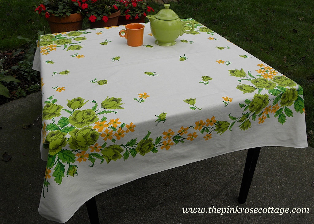 Vintage Chartreuse Roses and Yellow Daisies Tablecloth with Needlepoint Look
