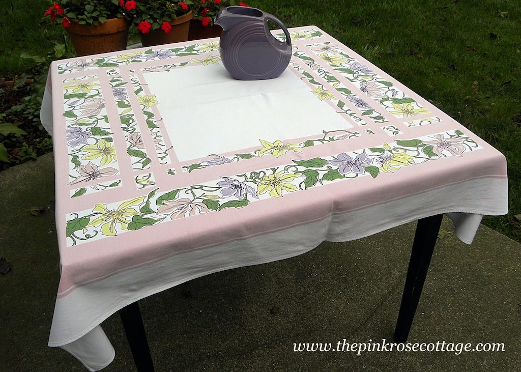 Vintage Pastel Pink Yellow Purple Clematis Trellis Prints-ES Tablecloth