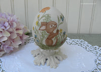 Vintage Hand Painted Easter Bunny with Spring Flowers Egg