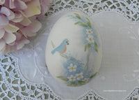 Vintage Hand Painted Bluebird and Forget-Me-Nots Egg and Stand