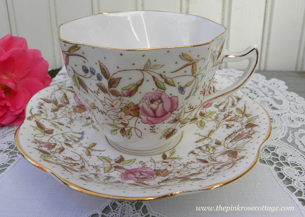 Vintage Rosina Whimsical Pink Rose and Dragon Fly Teacup and Saucer