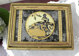 Vintage Southern Belle with  Swan Reverse Painting on Glass Jewelry Keepsake Box