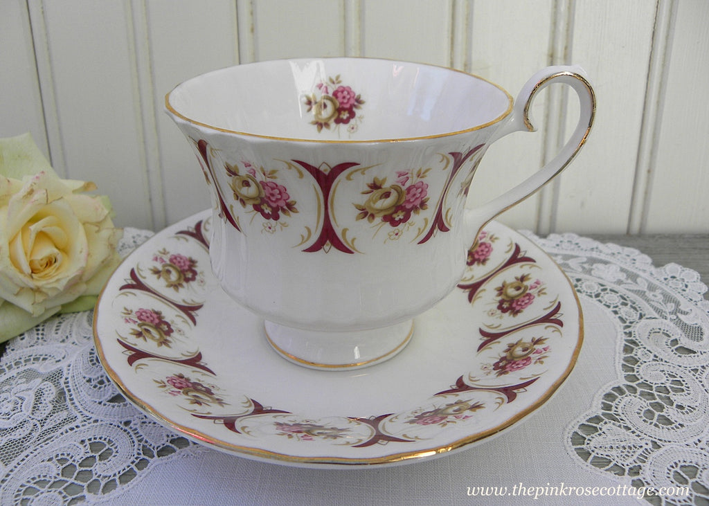 Vintage Burgundy and Pink Rose Teacup and Saucer