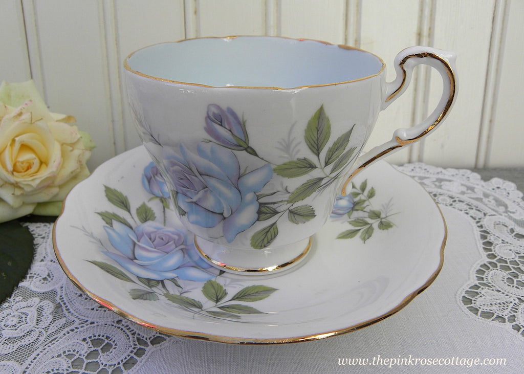 Vintage Paragon Blue Moon Rose Teacup and Saucer