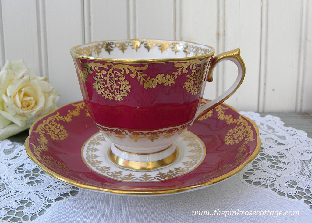 Vintage Royal Albert Gold and Burgundy Teacup and Saucer