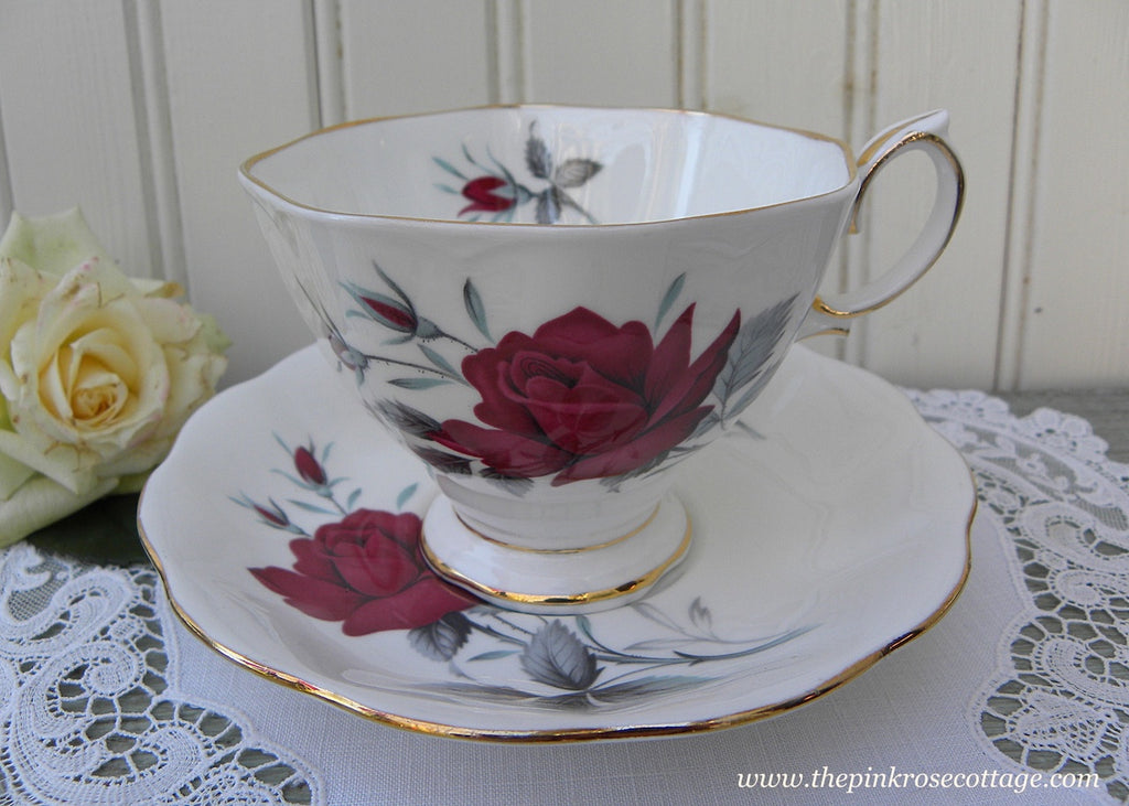 Vintage Royal Albert Red Rose Sweet Romance Teacup and Saucer