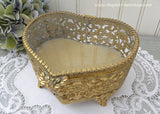 Vintage Heart Shape Filagree Footed Trinket Jewelry Box with Beveled Glass Top