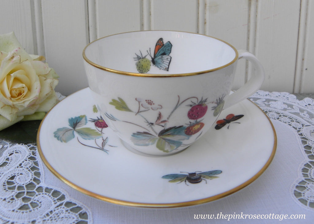 Vintage Royal Worcester Strawberry Fair with Butterfly Teacup and Saucer
