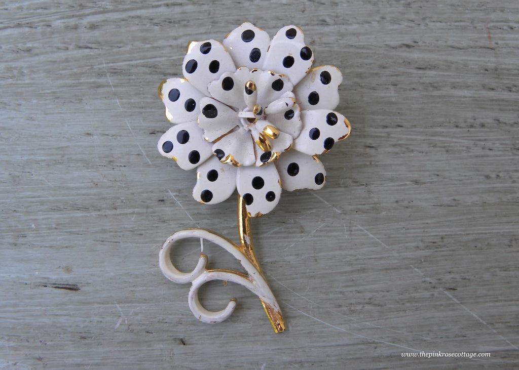 Vintage Black and White Polka Dot Enameled Flower Pin