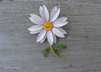 Vintage Enameled Smiley Face Daisy Pin